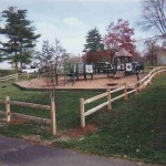 2 Rail Split Rail Wood Fence on Playground