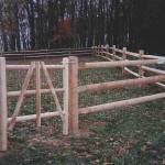 3 Rail Split Rail Wood Fence on Farm