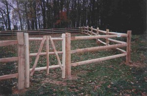 3 Rail Split Rail Wood Fence on Farm