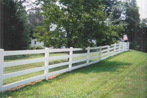4-Rail Vinyl Post and Rail Fence