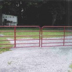 6 Bar Red Aluminum Double Gate