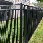 black aluminum double picket fence