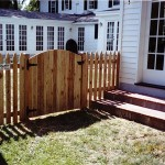 Solid Board Spaced Picket Gothic Gate with Arch