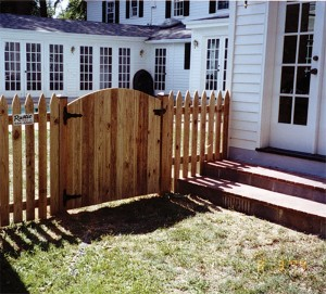 wood picket fence gate. Solid Board Spaced Picket Gothic Gate With Arch Wood Fence