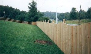Solid Board Wood Privacy Fence with Mt Vernon Dip