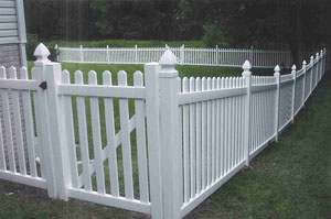 Vinyl Dog-Eared Picket Wood Fence