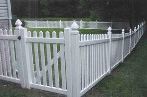 Vinyl Dog-Eared Picket Wood Fence