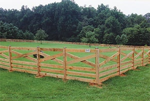 Wood Fence on Farm